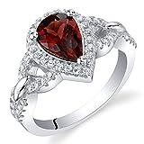 Garnet Sterling Silver Halo Crest Ring Size 7