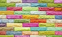 壁の壁画 壁紙 ウォールカバー カラーレンガパターン効果 壁画 壁紙 ベッドルーム リビングルーム ソファ テレビ 背景 壁 壁面装飾のための,150x105cm