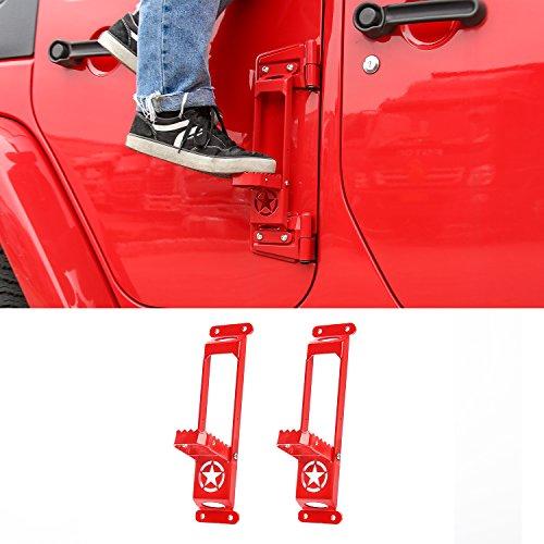 Door Hinge Step Foot Peg Folding Foot Pedal, Easy Access to Car Rooftop for 2007-2018 Jeep Wrangler JK JKU JL JLU (2 Pack, Red)