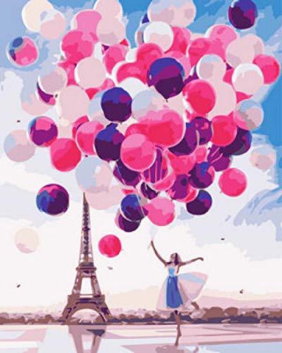 DIY digitaal schilderij voor meisjes, ballon, olieverfschilderij, knutselen, schilderen op nummers, olieverfschilderij, canvas, 40 x 50 cm
