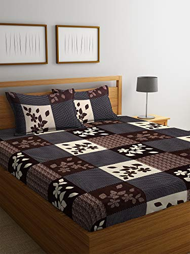 Fashion String 144 TC Microfibre Brown Double Bedsheet with 2 King Size Pillow Covers
