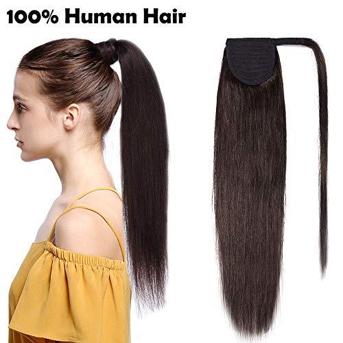 Ponytail Extension Clip in Echthaar Pferdeschwanz Haarteil Haarverlängerung Zopf Hair Piece Dunkelbraun#2 20