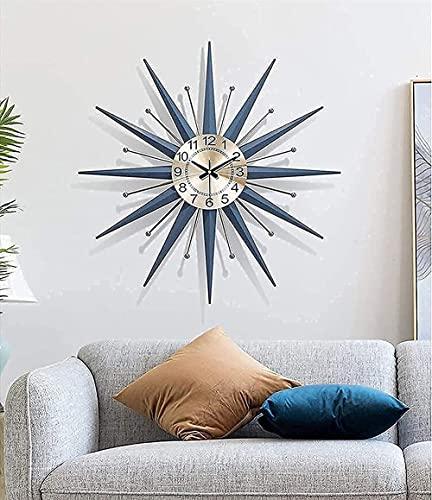 WANIYA1 Reloj de pared de metal de mediados de la pared de la pared de Starburst de mediana edad, reloj de decoración en silencio de no cosechado, moderno, luz, lujo, lujo, dormitorio, reloj, decoraci