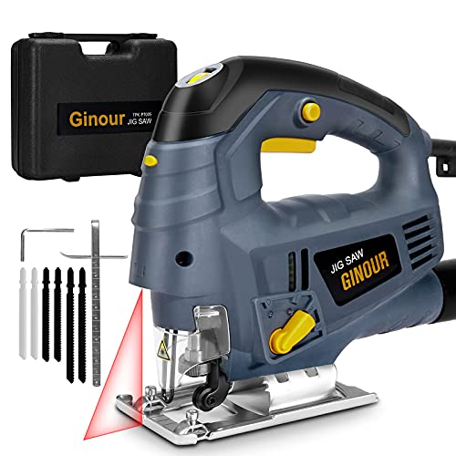 Jigsaw, ginour Jigsaw Tool 800W 3000SPM, 7 Variable Speed, 6 Blades, Laser Guide, 4 Position Orbital Action, Cutting Angle -45°to 45°, Carrying Case, Jig Saws Electric for Wood Metel Cutting