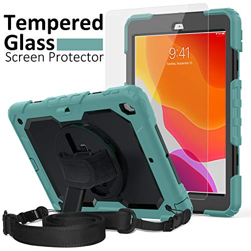 iPad 7th Generation Case, iPad 10.2 Case 2019, [Shockproof] ambison Full Body Protective Case with 9H Tempered Glass Screen Protector, Rotatable Kickstand & Hand Strap, Shoulder Strap (Teal & Black)