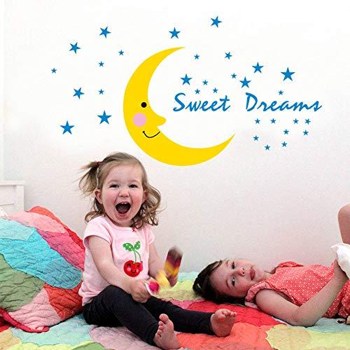 Schattige dromen muursticker, blauwe sterren, stickers voor de maan, voor de kinderkamer van de baby, kinderkamer, slaapkamer, wanddecoratie naast het bed, ecologische kunst