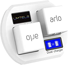 Fast Charging Station Compatible with Arlo Rechargeable Batteries, UMTELE Dual Charger Stand with LCD Display Compatible for Arlo Security Light & Arlo Pro & Arlo Pro 2 & Arlo Go Batteries - White