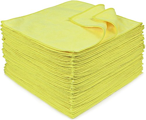 Eurow Microfiber 12 x 12in 300 GSM Cleaning Towels Yellow - 50 Pack