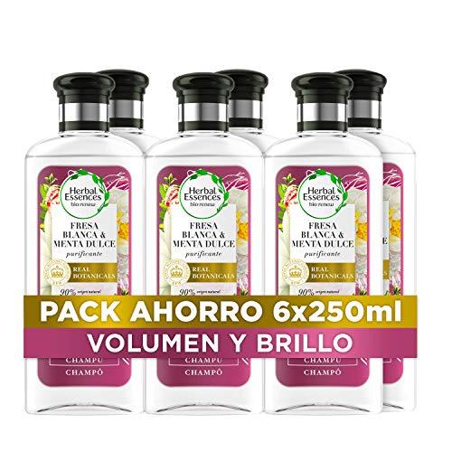 Herbal Essences bio:renew Fresa Blanca y Menta Dulce Purificante Champú, En Colaboración Con El Real Jardín Botánico De Kew 6 x 250ml