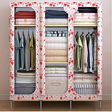 Generic 5 Colors Portable Folding Clothes Wardrobe Closet Home Furniture with 3 Doors