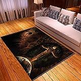 xiangpiaopiao Alfombra Alfombra Creative Horror Death Skull Series Impreso En 3D Decoración para El Hogar Alfombra Suave Antideslizante (03423Dt) 180X180Cm