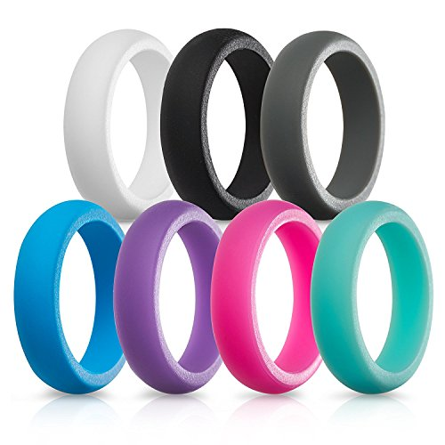 Silicone Wedding Rings for Women - 7 Pack (White Black Gray Blue Purple Pink Teal, 8.5-9 (18.9mm))