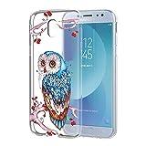 Funda Samsung Galaxy J7 2017, Eouine Cárcasa Silicona 3D Transparente con Dibujos Diseño [Antigolpes] de Protector Case Cover Fundas para Movil Samsung J72017-5.5 Pulgadas (Búho Colorido)