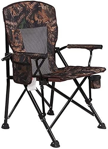 Silla plegable para acampar Portátil plegable Césped Silla plegable ultraligera Camping de sillas de camping, sillas de pesca de servicio pesado con titulares de tazas y bolsillo lateral, capacidad de