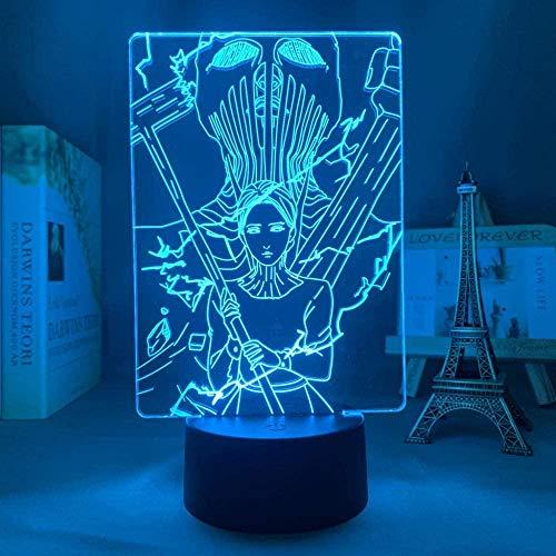 Lámpara de luz 3D 7 colores Anime Attack on Titans Warhammer Titan Attack on TitansUSB 7 colores Sensor táctil Niño Niños Regalo Lámpara de mesa Decoración de escritorio-16 color remote control