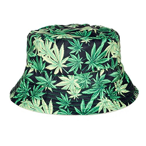 Alaani Fischerhut Bucket Hat Sonnenhut Print Hanf Blatt Weed Cannabis