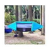 JXS-outdoor Hamaca para Acampar con mosquitera y cobertor para Lluvia Hamaca de Tela para paracaídas, sombrilla para jardín Hamaca para Acampar al Aire Libre,Blue