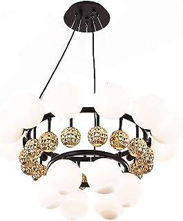 Chandelier, Nordic 8 Light Chandelier Lighting, Golden Glass Sphere Adjustable Pendant lamp, Modern Hanging Ring Ceiling L...