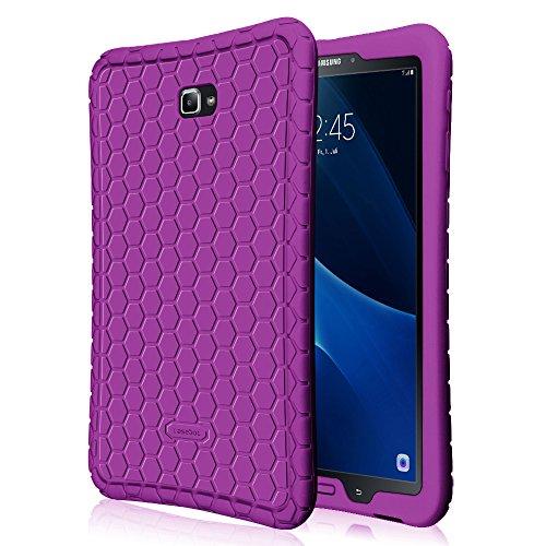 Fintie Hülle für Samsung Galaxy Tab A 10,1 Zoll T580N / T585N Tablet - [Bienenstock Serie] Leichte rutschfeste Stoßfeste Silikon Schutzhülle Tasche Case Cover, Lila