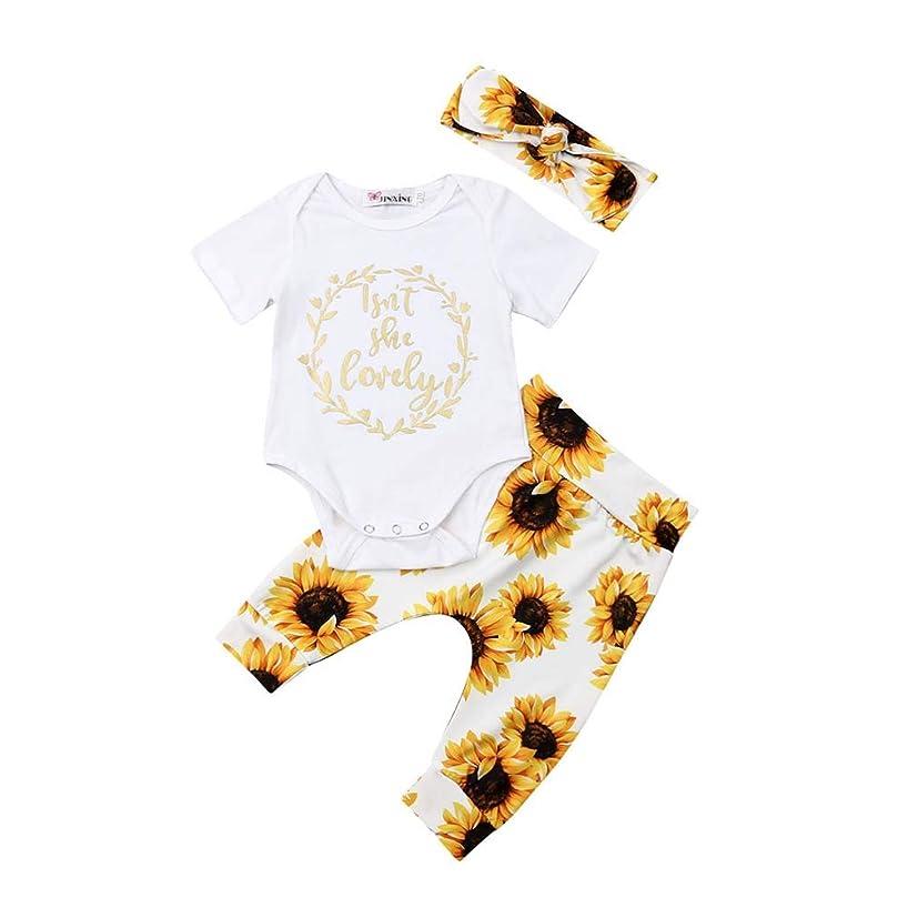 Newborn Baby Girl Clothes Letter Print Short Sleeve Romper Tops+Sunflower Pants+Headband 3pcs Outfit Set 0-18M