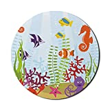 Alfombrilla de ratón para acuario para computadoras, amigable con animales marinos, grupo de hábitat acuático tropical, caballito de mar, cangrejo, pulpo, redonda, antideslizante, de goma gruesa, mode