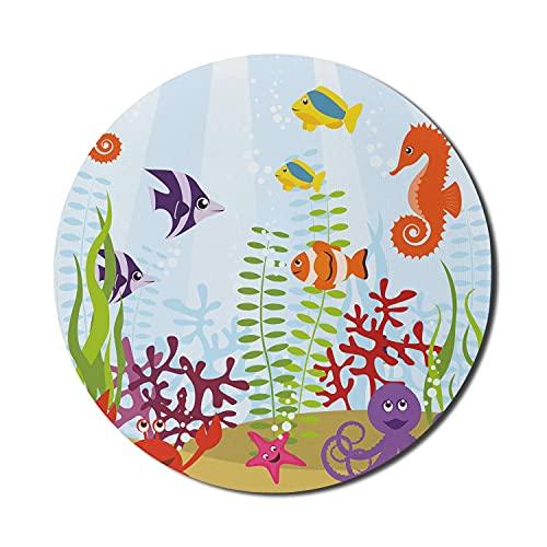Aquarium Mouse Pad für Computer, freundliche Meerestiere Tropical Aquatic Habitat Group Seepferdchen Crab Octopus, rundes rutschfestes dickes Gummi Modern Gaming Mousepad, 8 'rund, mehrfarbig
