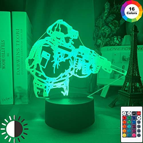 KangYD LED Nachtlichter Soldat Figur, 3D Illusionslampe, Wohnkultur, G - Handy-Kontrollbasis, Dekorlampe, Atmosphärenlampe, Bunte Lichter, Valentinstag Geschenk