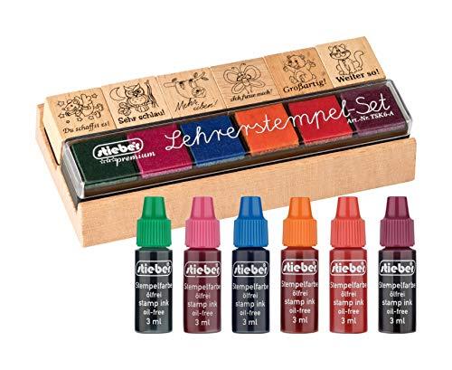 stieber® Lehrerstempel- 6er Set mit Holzhalter und Riegelkissen (Stempelset inkl. Nachtränkfarbe)