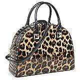Dasein Patent Rhinestone Handbags for Women Studded Dome Zip Around Shoulder Bags Designer Purses (Leopard)