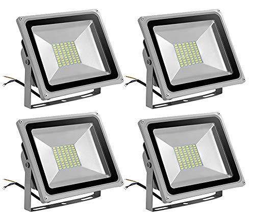 Leetop 50 Watt LED Flood Light SMD Flutlicht Außen Fluter kaltweiß Scheinwerfer Strahler Licht IP65 Gartenleuchte Security Light(4 Stücke)