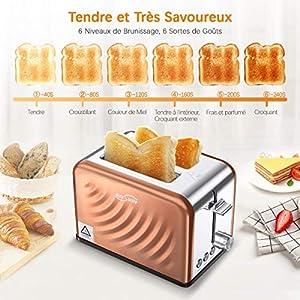 Housmile Grille Pain en Acier Inoxydable - 900W 2 Fentes avec 6 Niveaux de Brunissage Multifonction pour Toaster Décongeler Réchauffer