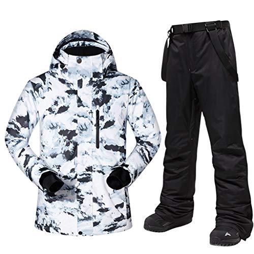 Zlw-shop Schneeanzüge Skianzug Winterbekleidung Herren Ski Lätzchen Anzugjacke Wasserdicht Snowboard-Bunte gedrucktes Ski-Jacke und Hose Set Skianzug (Color : B+Black, Größe : M)