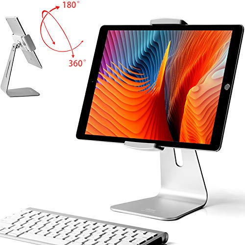 viozon iPad Pro Stand, Tablet Stands 360° Rotatable Aluminum Alloy Desktop Mount Stand for 7-13inch iPad Pro iPadAir iPad Mini Surface and Surface Pro (Silver General)