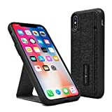 iPhone X/Xs Case - Vertical and Horizontal Kickstand - Hand Grip - Hidden Card Slot - Reflective Safety Feature - Reinforced Drop Protection - Flexible TPU - (Black)
