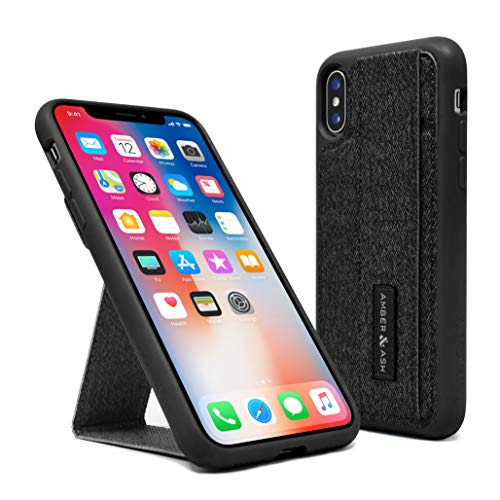 Amber & Ash iPhone X/Xs Case - Vertical and Horizontal Kickstand - Hand Grip - Hidden Card Slot - Reflective Safety Feature - Reinforced Drop Protection - Flexible TPU - (Black)