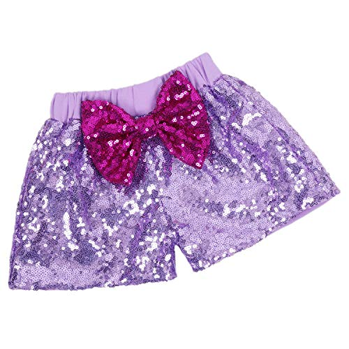 Baby Girls Shorts Sparkle Toddler Sequin Shorts Glitter on Both Sides Birthday Outfits Lavender Lilac Hot Pink Rose Red 5T