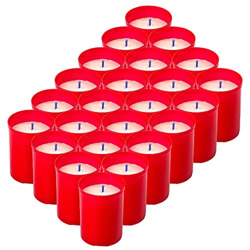 H HANSEL HOME Pack 24 Velones Pequeño Rojo Velón Votivo Vela Roja 6,5 x 5 cm