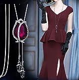 ARMAC Collar de tulipán de cristal con colgante de diamante completo suéter cadena larga accesorios