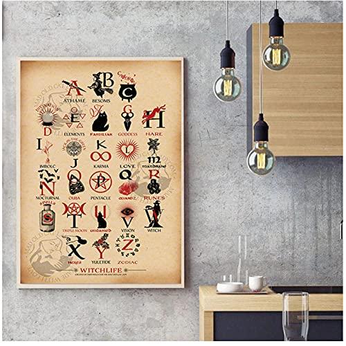 FUXUERUI Cocina divertida Brujería ABC Alfabeto Educación Conocimiento Lienzo Arte de la pared Impresión del cartel e imágenes para la decoración de la habitación,40x60cm Sin marco