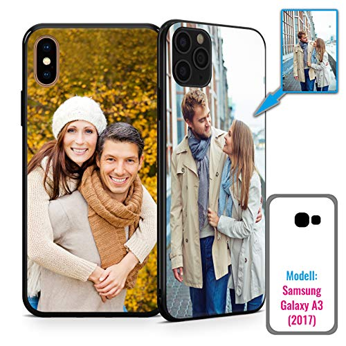 PixiPrints Foto-Handyhülle mit eigenem Bild kompatibel mit Samsung Galaxy A3 (2017), Hülle: TPU-Silikon in Schwarz, personalisiertes Premium-Case selbst gestalten mit flexiblem Druck