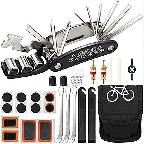 Outdoor Cover Kit de herramientas de reparación multifunción, kit de pinchazos de neumáticos de bicicleta, con bolsa de herramientas portátil, juego para bicicletas de montaña de carretera