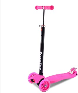 AISHANG Scooter, Suitable for Children's 4-Wheel Scooter, Adjustable Height, Children's Scooter with LED Light Pulley, Girl boy 2 to 16 Years Old