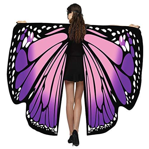 Yowablo Schmetterling Flügel Schmetterling Kostüm schmetterlingsflügel Butterfly Schal Flügel Schal Flügel Cape Umhang ( 168*135cm,2Rosa )