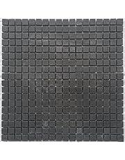 Mozaïek mat leisteen antraciet 30x30 cm mat natuursteen tegels zwart M046