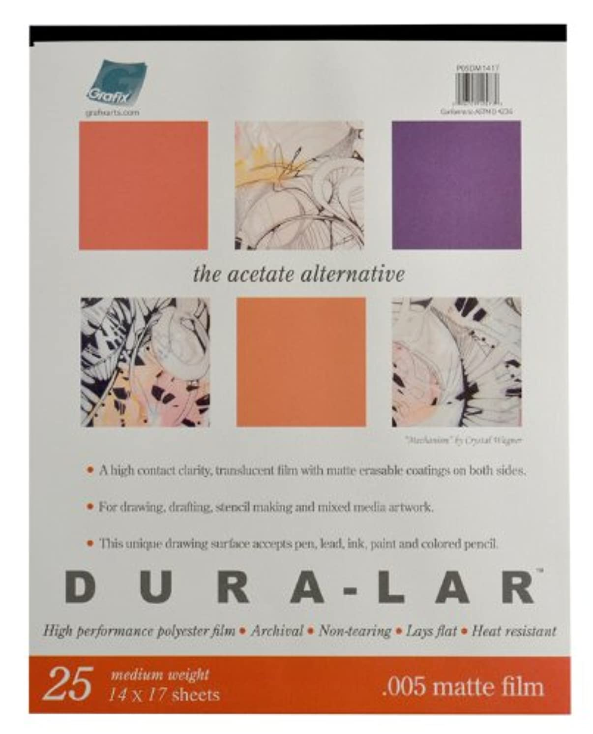 Grafix Matte 0.005 Dura-Lar Film, 14-Inch by 17-Inch, 25 Sheets