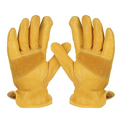 KKmoon 1 Paar Rindsleder Arbeit Handschuhe Herren, Arbeitshandschuhe Damen, Montagehandschuhe Sicherheit Schutzhandschuhe für Gartenarbeit Fahrradtraining Schweißarbeit Maschinenmontage Gelb Size M