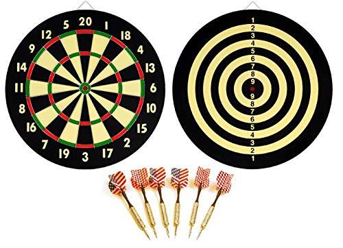 "EDMBG New Dart Board + 6 Brass Darts Flag Checkers 16.5"" inch"