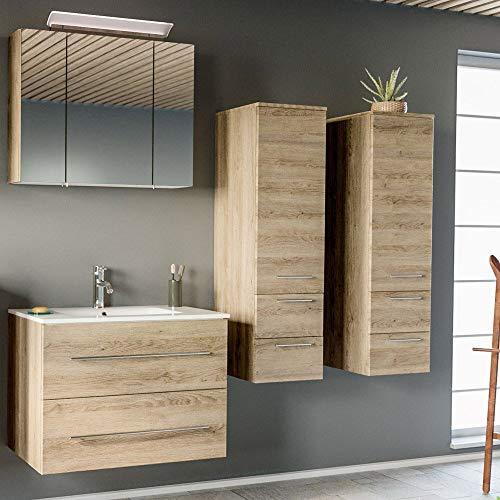 Lomadox - Juego de Muebles de baño (Roble Claro, 80 cm, Mesa de baño de cerámica, Armario con Espejo LED y 2 armarios Altos)