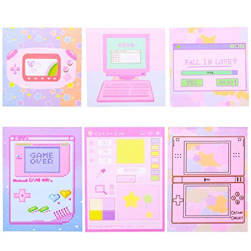 LIskybird tragbare Haftnotizen mit buntem Computermuster für Kinder, 6 Stück