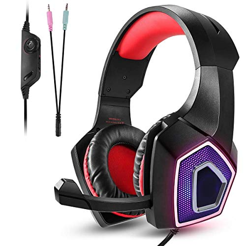Electronics Wired PC Earphones RGB Gaming Headset for Mobile Gaming Headset E-Sports with Microphone Stereo Surround USB Headset for PC and Laptop,Blue Wearable (Color : Red)